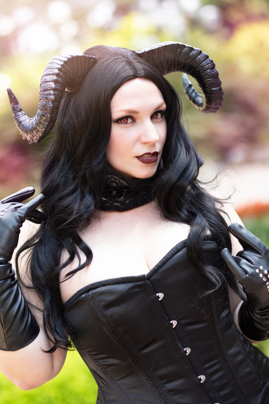 Goth Cosplay Demon Original Character wearing Horns
